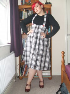 1950s style plaid jumper skirt