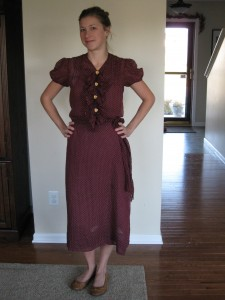 maroon polka dot with bone buttons