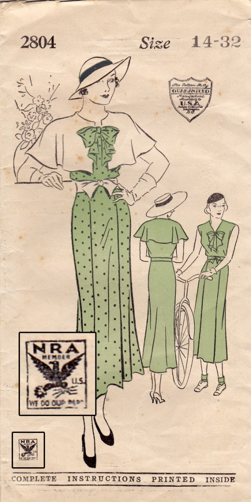 NRA logo on a 1930s pattern