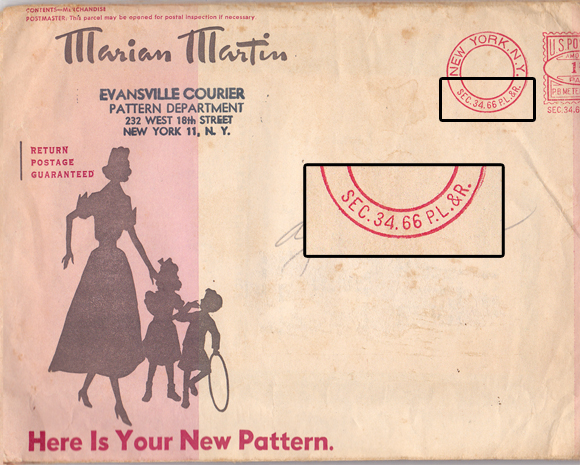Vintage Mail Order Pattern marked Sec 34.66 P.L.&R.