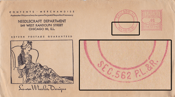 Vintage Pattern Envelope with Sec 562 P.L.&R. Stamp