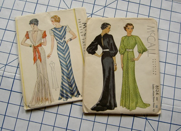 McCall 7714, a bias evening gown from 1934, and McCall 8524, a dinner dress from 1935