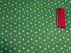 Aunt Grace chicken fabric, red trim
