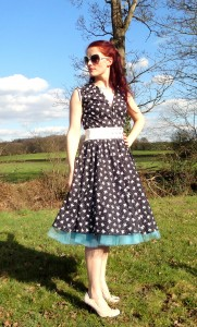 Vintage inspired by Beatrice Winter shirt waist dress bird print full circle skirt