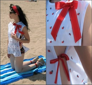 Red Bow Swim Suit Cover-UP