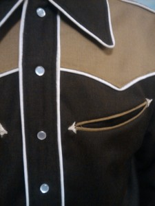 hand sewn arrowhead tacks & tricky welt pockets!