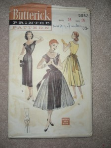 1950s wiggle dress with over skirt
