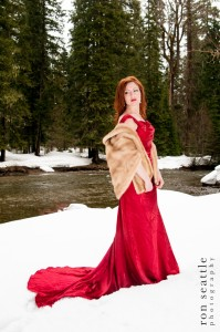 Red dress with faux fur