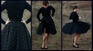 blue black cotton circle skirt
