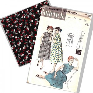 Butterick 7139 pattern envelope and red floral fabric swatch
