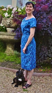 View 1, Advance 8617, from 1958 – I made this dress first.  It has gussets in the sleeves and a more fitted bodice.  This blue cloth is a more retro look, but the yellow West African print was probably around in 1958.