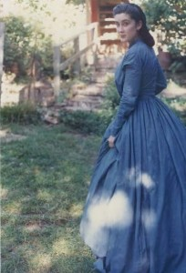 Past Patterns #801, fan front bodice, 1844 – 1850s. – The skirt is big and fun, made with nine yards of cloth.