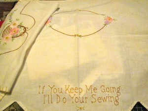 sewing machine embroidered cloth