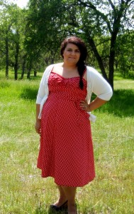 Red and white polka dot sundress, Vogue 8812