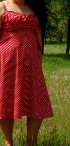 Red and white polka dot sundress, Vintage Vogue 8812