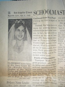 Newspaper from Feb. 21, 1960 with the newly married Mrs. Larry Cessna McVey.
