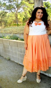 Retro Butterick 5748 in tangerine and ivory eyelet
