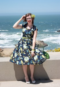 50s hawaiian dress playsuit front
