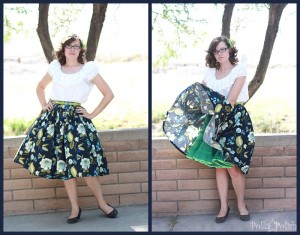 skirt with 40s peasant blouse