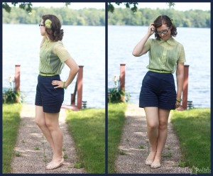 simplicity shorts with sheer blouse