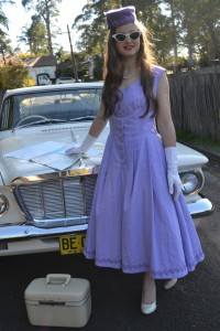 The finished product- we did a photo shoot and my good friend Rosanna modelled for me in front of my Dad's 1962 Valiant S series
