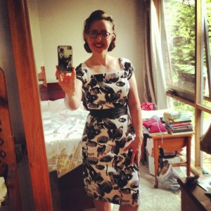 Wiggle dress 2012, Vintage fabric in stretch cotton sateen