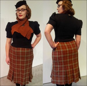 Plaid wool skirt and wool knit jumper.