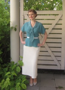 30s style silk skirt and rayon blouse