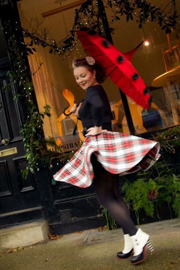 twirling in tartan circle skirt