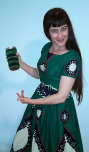 My travel mug has a sweater that matches my dress.  McCall's 6121, front.