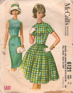 McCall's 6121 vintage sewing pattern from 1961.   Notice that I changed the neckline.