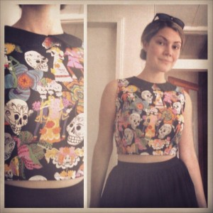Day of the Dead Crop Top with Black Full Skirt