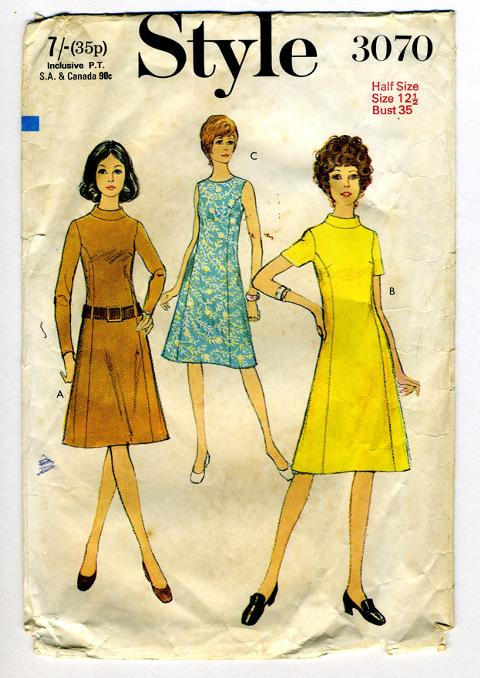 Style 3070 vintage sewing pattern, 1970.