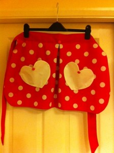 50's style polka dot apron with heart pockets