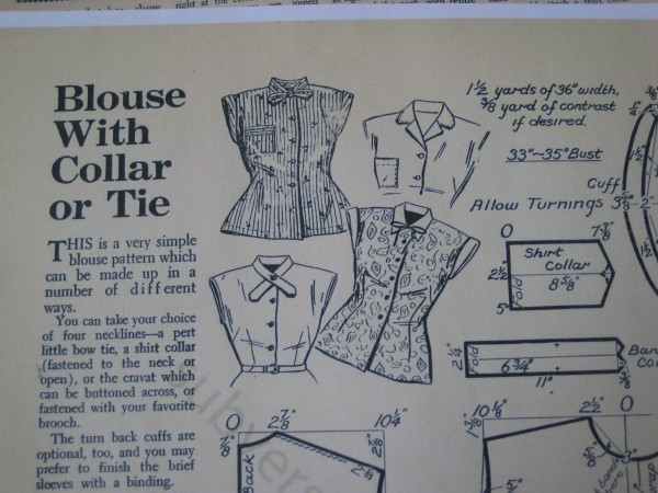 This is the pattern for my blouse.  I love this book as there are lots of variations and the patterns are simple to draw out and make. Enid Gilchrist - Women and Teenagers.