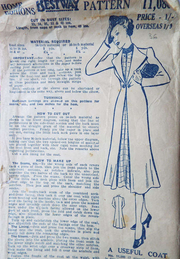 1930s Bestway Coat Sewing Pattern