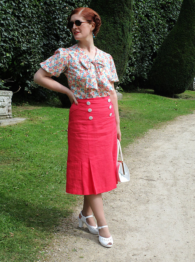 1930s coral skirt and blouse