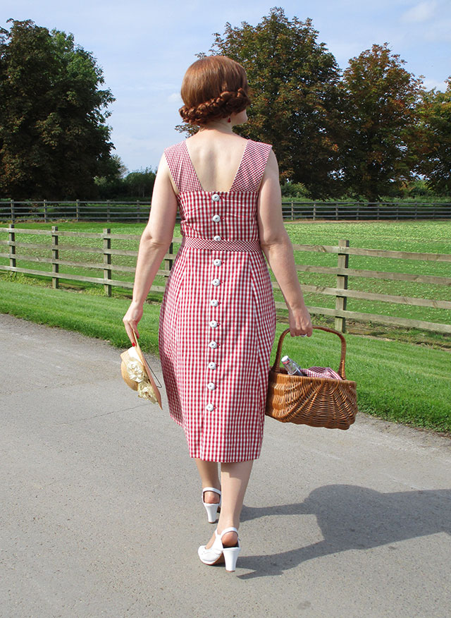 1940s organic gingham cotton dress